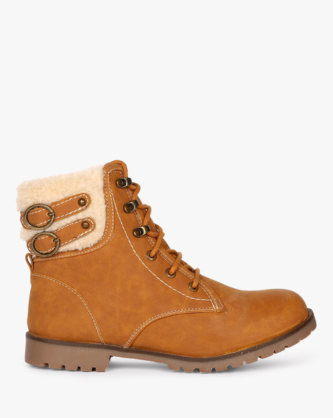 High-Top Lace-Up Boots By Carlton London ( Camel )