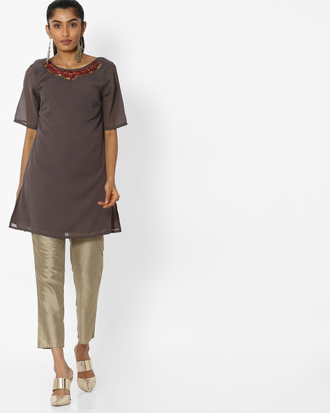 Embroidered Tunic With Back Tie-Up By AJIO ( Charcoal )
