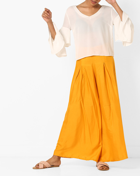 Palazzo Pants With Elasticated Waist By Bitterlime ( Mustard )