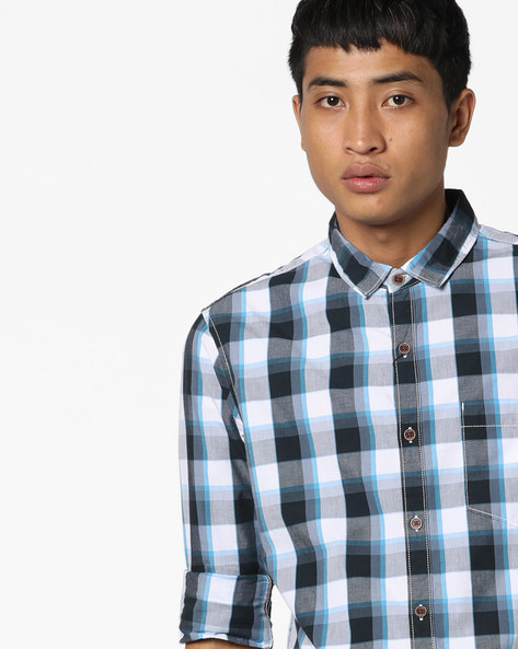 Checked Shirt With Patch Pocket By AJIO ( Blue )