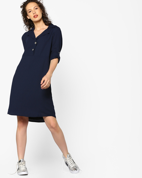 Shirt Dress With Curved Hemline By PE WW Casual ( Navy )