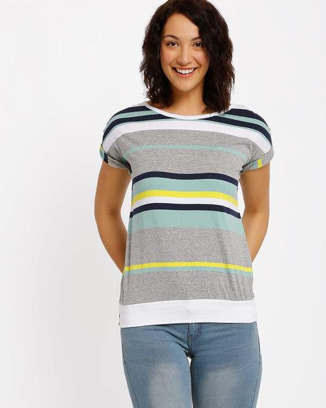 Printed T-Shirt By Ajile By Pantaloons ( Greymelange )