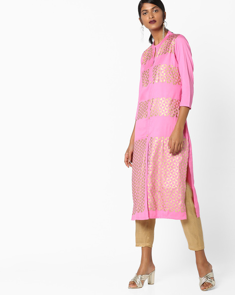 Geometric Print Kurta With Front Slit By Shakumbhari ( Pink )
