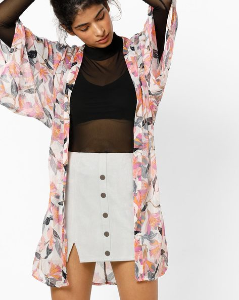 Floral Print Shrug With Bell Sleeves By Vero Moda ( White )