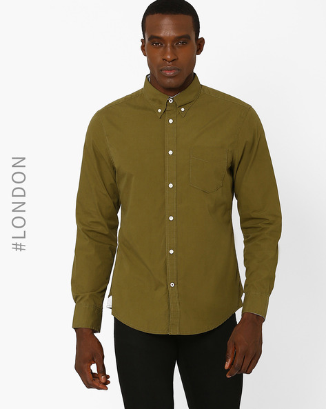 Cotton Poplin Shirt With Patch Pocket By Marks & Spencer ( Olive )