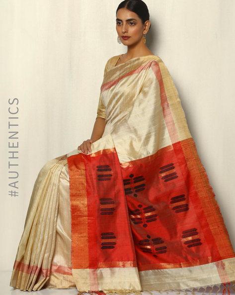 Handloom Pure Silk Dupion Saree With Zari Border By Pretty Woman ( Cream )