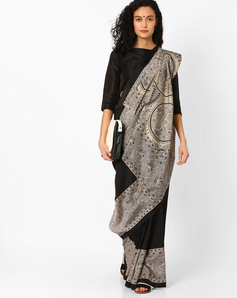Printed Saree With Contrast Border By Pihu ( Black )