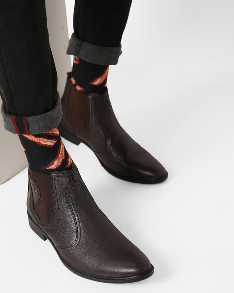 High-Top Leather Chelsea Boots By RED CHIEF ( Brown )