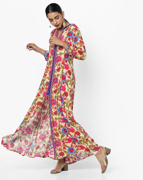Floral Print Kurta With Front Slit By Shree ( Pink )