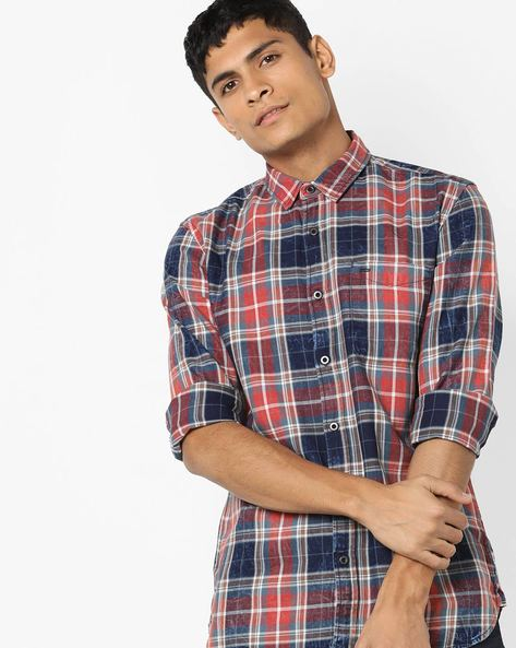 Checked Slim Fit Shirt With Washed Effect By Jack & Jones ( Red )