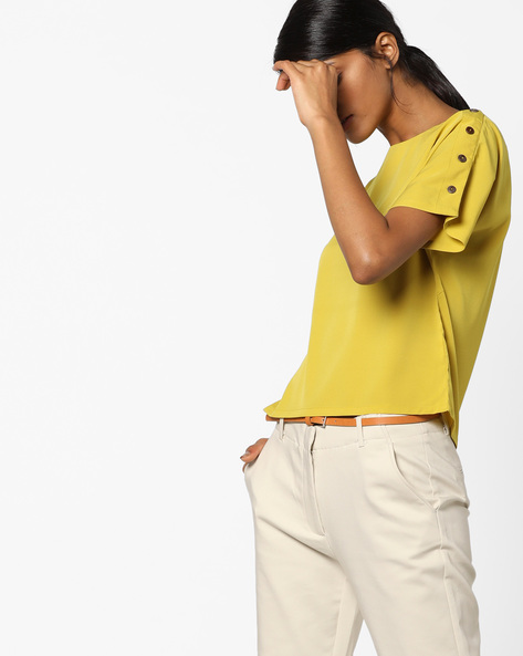 Boxy Top With Shoulder Buttons By AJIO ( Lightgreen )
