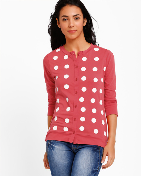 Printed Cardigan With Button Placket By Style Quotient By Noi ( Red )