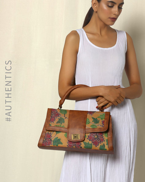 Hand Embroidered Kantha And Hand Painted Vegan Leather Silk Handbag By A BIG INDIAN STORY ( Tan )