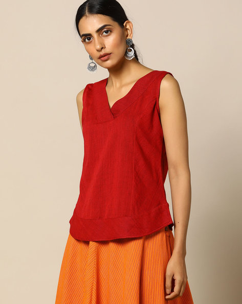 Handloom Cotton V-neck Sleeveless Top By Pilgrim ( Red )