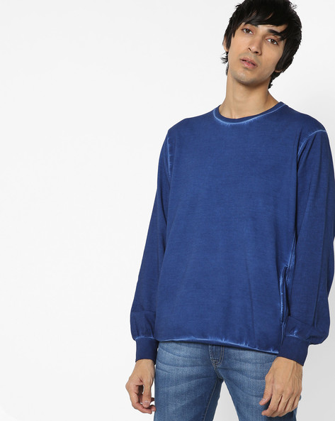 Crew-Neck Sweatshirt By AJIO ( Blue )