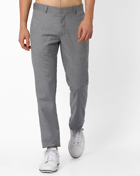 Flat-Front Slim Fit Trousers By NETWORK ( Ltgrey )