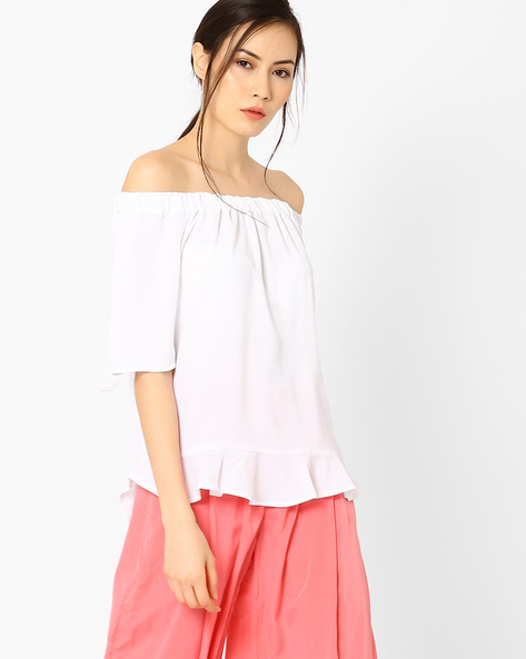 Off-Shoulder Top With Tie-Up Detail By AJIO ( White )