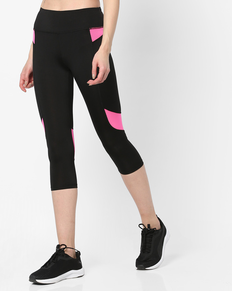 Capris With Contrast Panels By Heart 2 Heart ( Black )