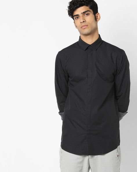 Patterned Shirt With Concealed Placket By Jack & Jones ( Black )