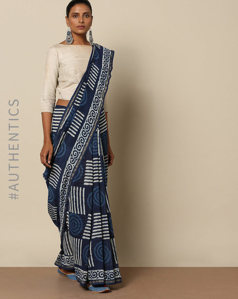 Handblock Indigo Print Chanderi Saree With Zari By Indie Picks ( Indigo ) - 460146824001