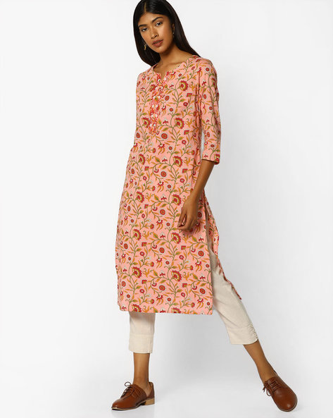 Floral Print Kurta With Embroidery By AJIO ( Apricot )