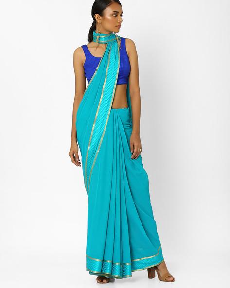 Saree With Zari Border By Amori ( Blue )