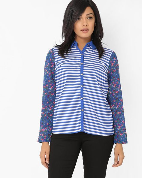 Striped Shirt With Printed Sleeves By RIO ( Darkblue )