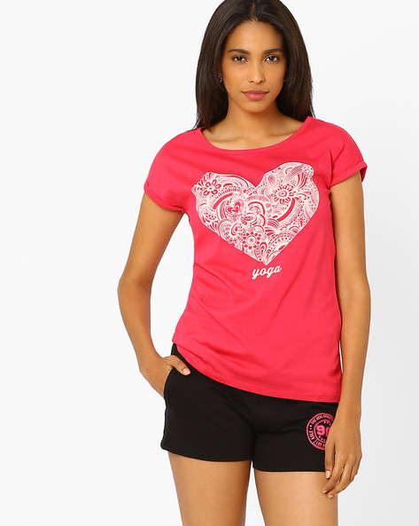 Printed T-shirt With Upturned Hems By Ajile By Pantaloons ( Pink )