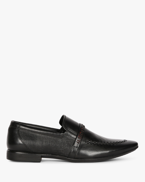 Genuine Leather Loafers With Textured Panel By ALBERTO TORRESI ( Black )