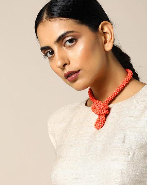 Beaded Short Necklace By Indie Picks ( Orange )