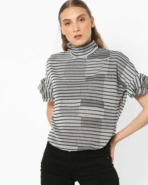 Geometric Print High-Neck Top By And ( Assorted )