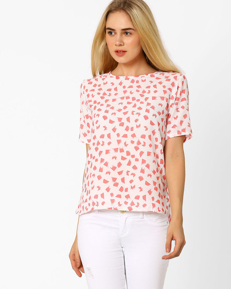 Printed Top With High-Low Hem By CHM ( Pink ) - 440716604007