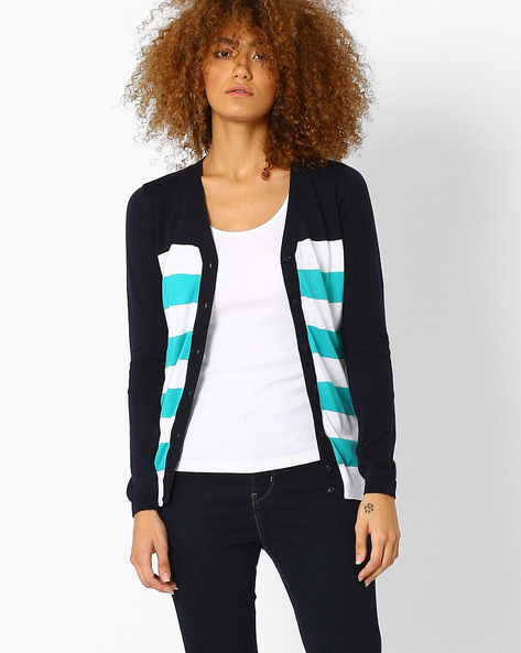 Striped Cotton Cardigan By Ajile By Pantaloons ( Navy )