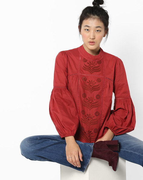Embroidered Top With Bell Sleeves By Rena Love ( Rust )