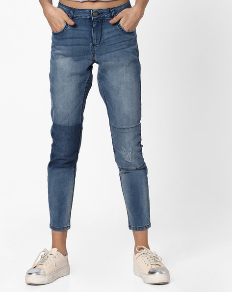Mid-Rise Panelled Straight Fit Jeans By DNMX ( Mediumblue )