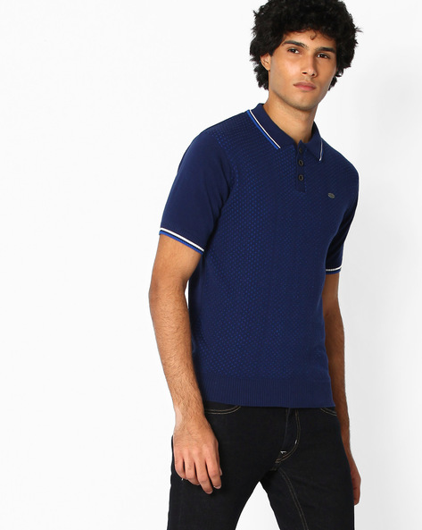 Printed Polo T-shirt By NETPLAY ( Darkblue )