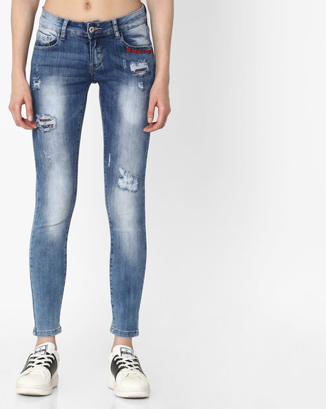 Lightly Washed Distressed Jeans By Deal Jeans ( Blue ) - 460134600004