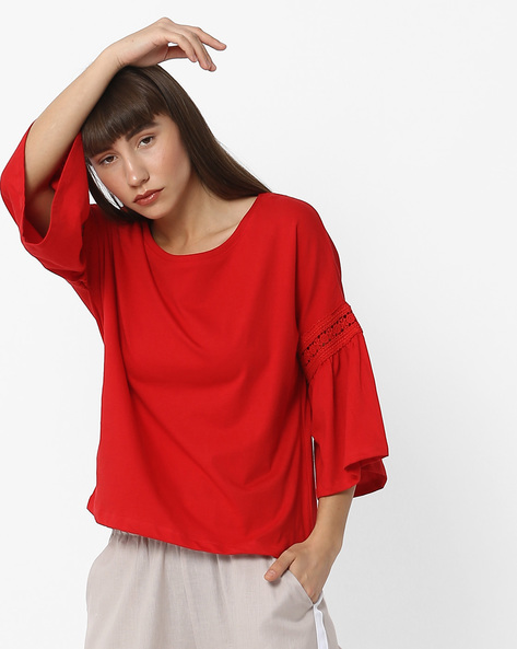 Cotton Top With Bell Sleeves By DNMX ( Red )