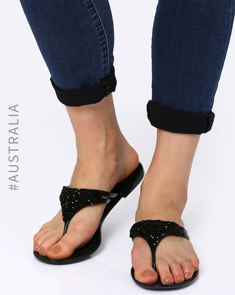 Embellished Lustre Jelly Flats By Holster ( Black )