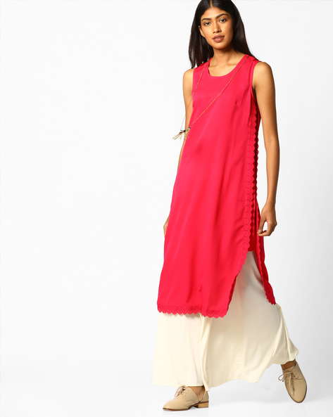 Sleeveless Straight Kurta With Chain By FUSION BEATS ( Pink )