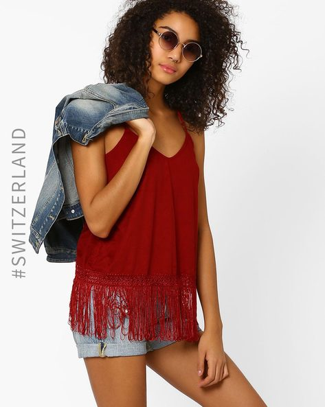 Strappy Top With Fringes By TALLY WEiJL ( Red )