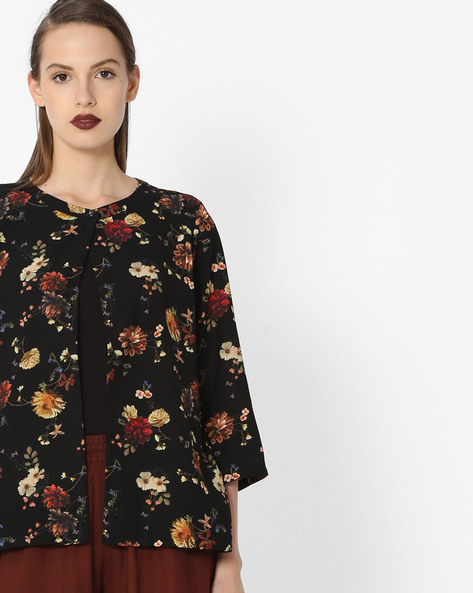 Floral Printed Shrug By Project Eve WW Casual ( Black )