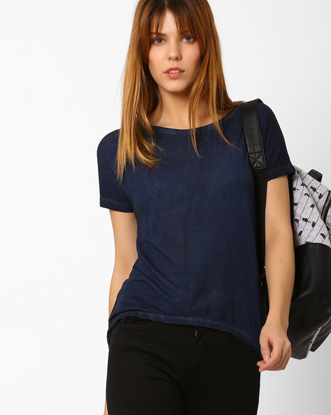 Crew-Neck Top With High-Low Hem By Fame Forever By Lifestyle ( Indigo )