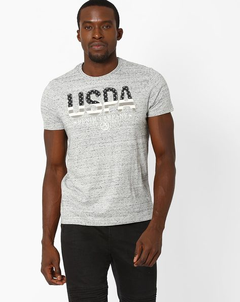 Muscle Fit Printed T-shirt By US POLO ( Grey )
