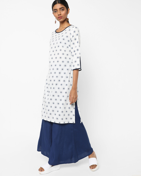 Printed Tunic With Slit Sleeve Hems By AJIO ( Blue )