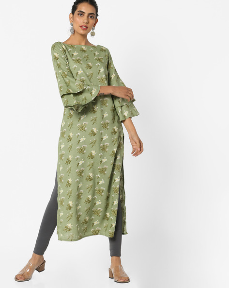Boat-Neck Dress With Tiered Sleeves By AJIO ( Green )