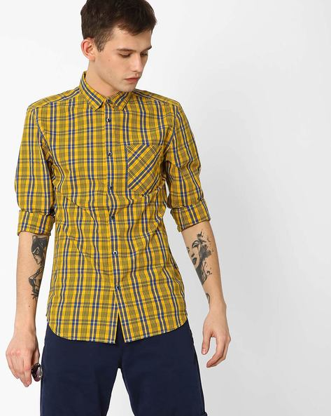 Slim Fit Checked Shirt By Jack & Jones ( Pink )
