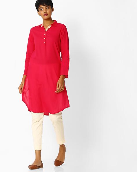 Straight Kurta With Curved Hemline By Jaipur Kurti ( Pink )
