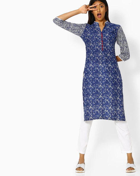All-Over Print Cotton Kurta By SOCH ( Blue )