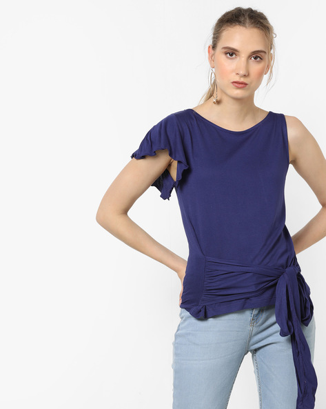 Sleeveless Top With Tie-Up By AJIO ( Darkblue )